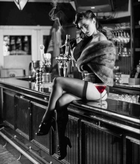 sitting on bar