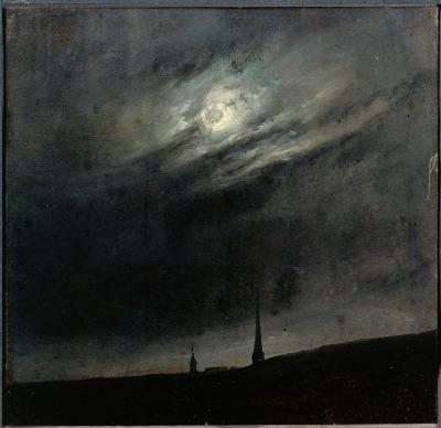Johan Christian Dahl - Moon Night Over Dresden, 1827