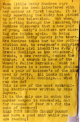 One of Joe Orton's blurbs substituted on a local library copy of a Dorothy L Sayers mystery
