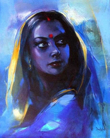 S Pranam Singh Acrylic on Canvas Lady in Blue Mood
