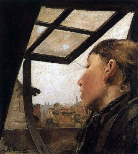 Laurits Andersen Ring - Girl looking out of a skylight