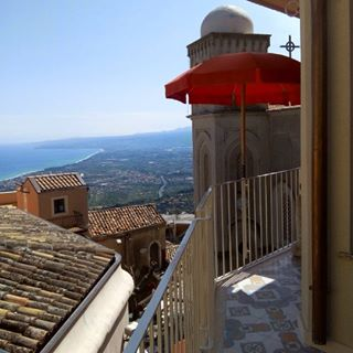 View of Castlemola's rooftops and the sea