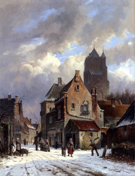 Figures On A Snowy Village Street oil on canvas by Adrianus Everson