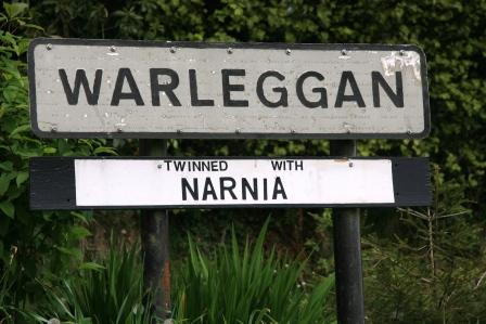 Village sign twinning Warleggan with Narnia