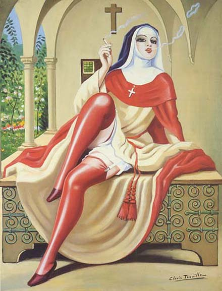 A love of Sunday - Clovis Trouille - Italian nun smoking a cigarette 1944