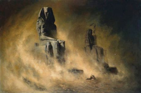 Karl Wilhelm Diefenbach – The Colossi of Memnon in a Sandstorm