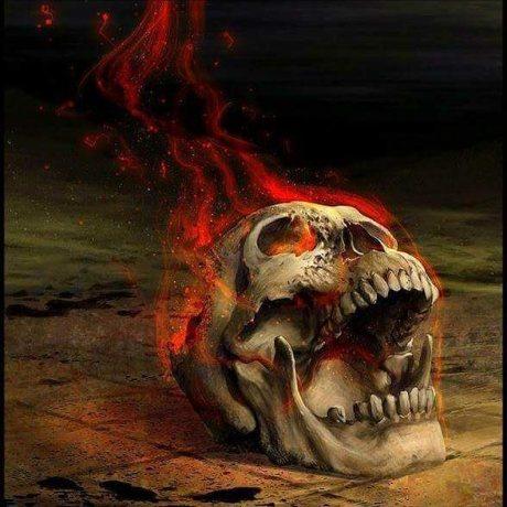 a burning skull