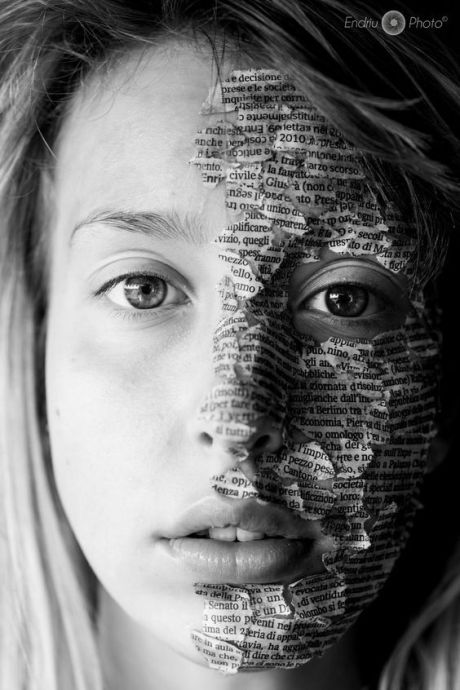 words on a face